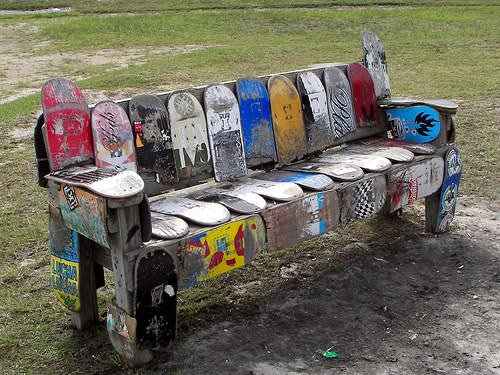 skateboard bench recycled ideas recyclart