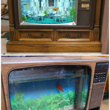 Vintage TV Into Fish Tank