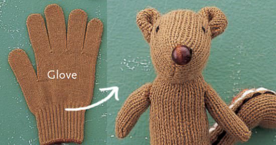 DIY : Recycled glove chipmunk in fabric diy  with Glove Craft Animals