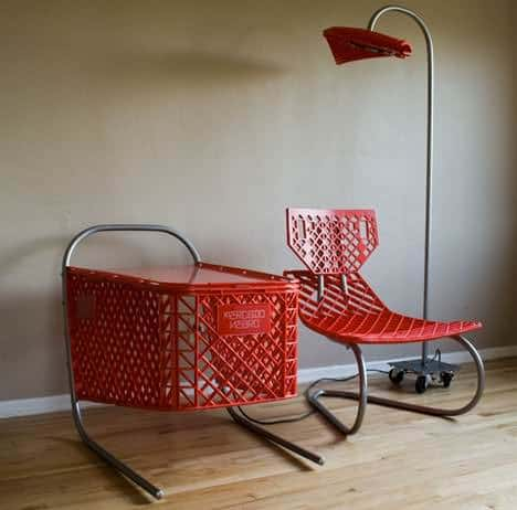 Recycled shopping cart in plastics  with upcycled furniture shopping cart cart