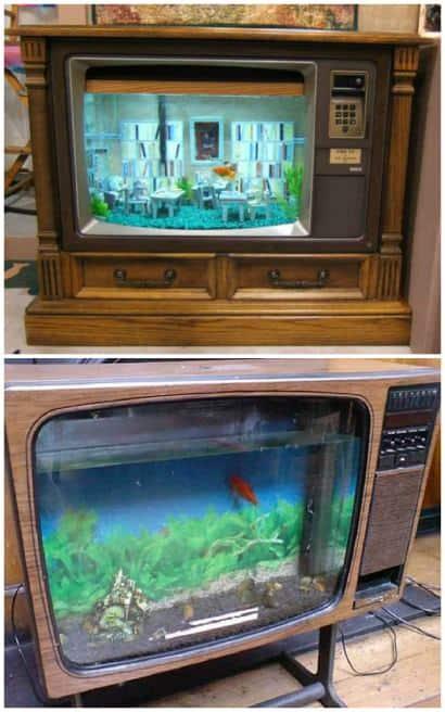 Vintage TV Into Fish Tank