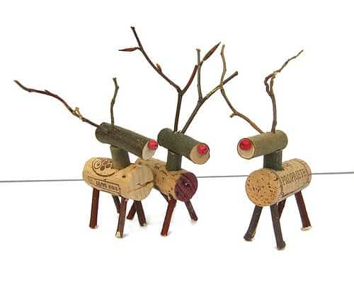 Cork Reindeer in wood diy corks  with Wine DIY Corks Christmas Animals