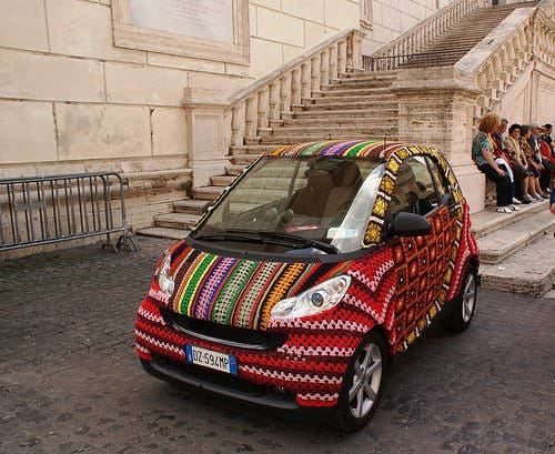 Extreme knitting : crocheted Smart in art fabric  with Knit Crochet