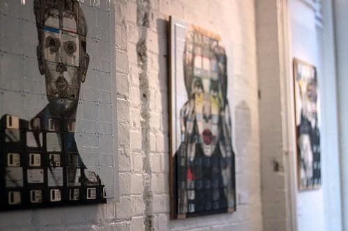Nick Gentry : floppys disks art in electronics art  with Painting Floppy Disk