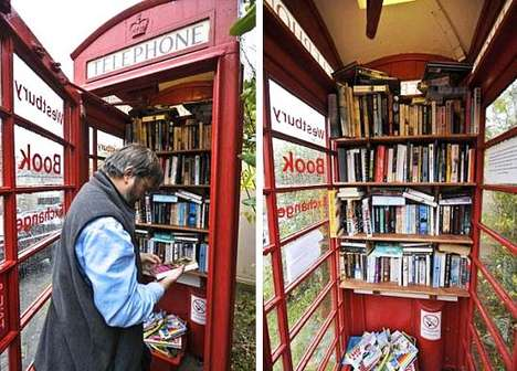 Phone Booth Library Interactive, Happening & Street Art Recycling Paper & Books