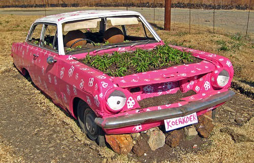 Old Car Reused Into Pink Planter Garden Ideas Mechanic & Friends Recycling Metal