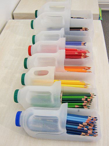 DIY: brilliant pencils in plastics packagings diy  with pot Plastic Pencil DIY Container