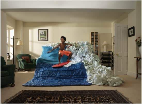 Real couch surfing in art fabric  with