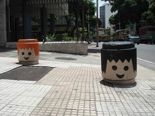 Urban Playmobil heads in social art  with urban Toy