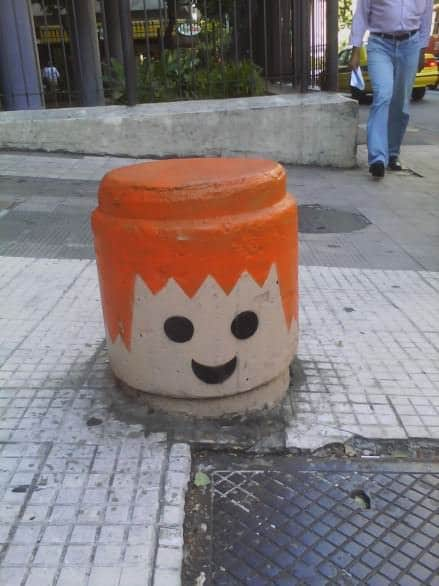 Urban Playmobil heads Interactive, Happening & Street Art Recycled Art