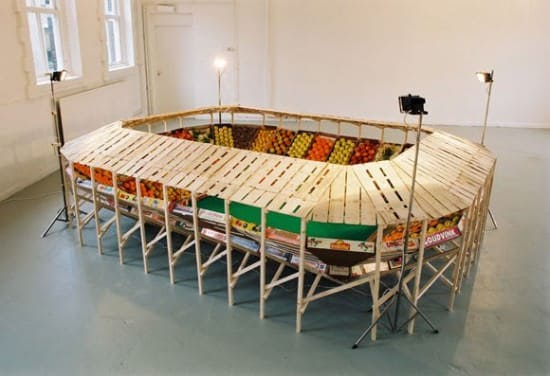 Vegetable stadium in wood art  with vegetable sport Football Crates