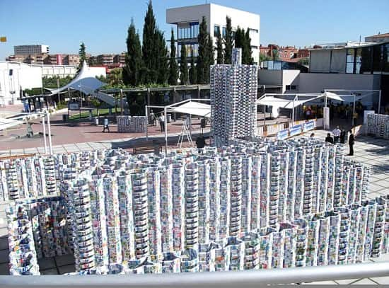 milk castle1 50 000 milk cartons castle (Guinness world record) in social packagings  with Sculpture Package Milk castle Cardboard 