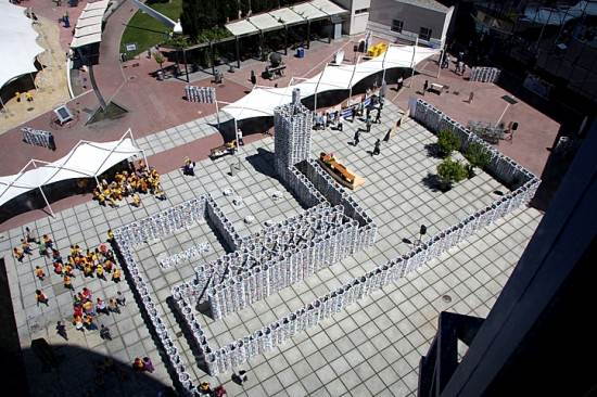 50 000 milk cartons castle (Guinness world record) in social packagings  with Sculpture Packaging Milk castle Cardboard