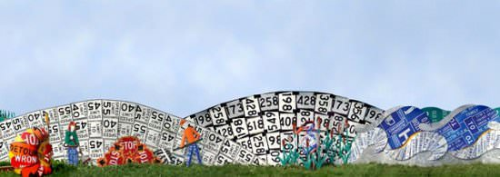 Read between the signs in social metals art  with roadsign fence Art