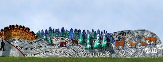 Read between the signs in social art metals  with roadsign Recycled Art fence