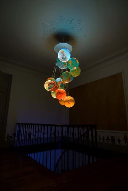 World Inside Out: A Chandelier Made Out Of Recycled World Globes Lamps & Lights