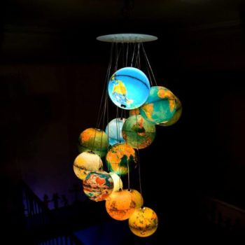 World inside out : a chandelier made out of recycled world globes