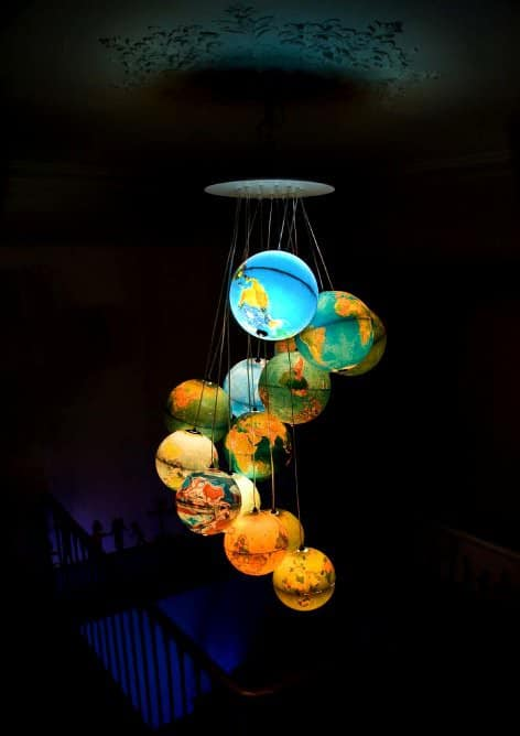 World inside out in plastics lights architecture  with World globe Chandelier