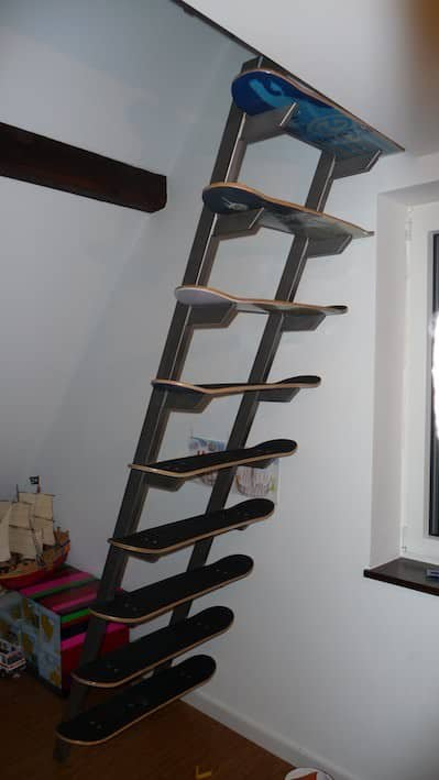 skateboard stairs1 Skateboard deck stairs in wood furniture architecture  with stairs Skateboard deck