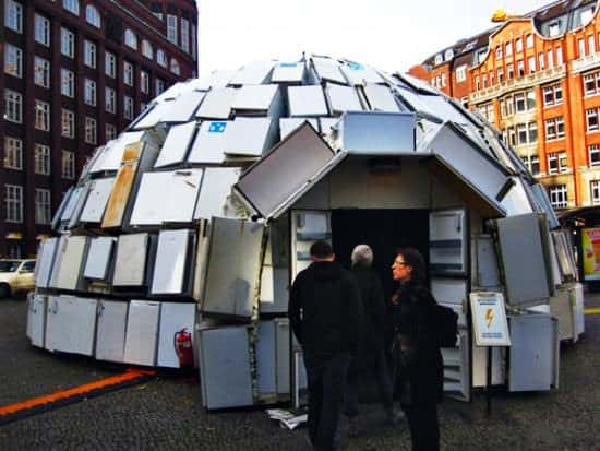 Igloo Made Out Of 322 Discarded Fridges Interactive, Happening & Street Art Recycled Electronic Waste