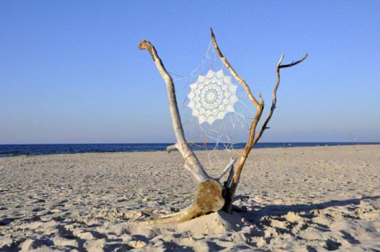 Doily Artwork Interactive, Happening & Street Art Recycled Art Wood & Organic