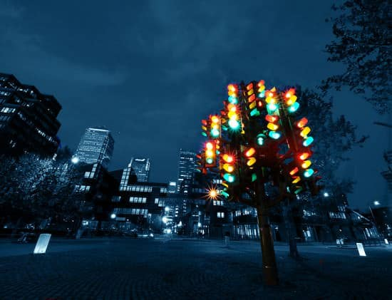 Traffic light tree in social electronics art architecture  with Tree Sculpture
