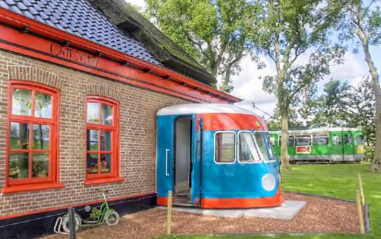 Train bed & breakfast in social architecture  with train motel hotel