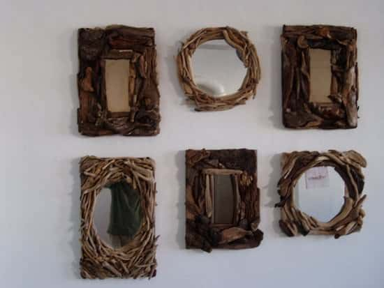 Driftwood mirrors 01 Driftwood mirrors in wood art  with Wood / organic Mirror Glass driftwood Art 