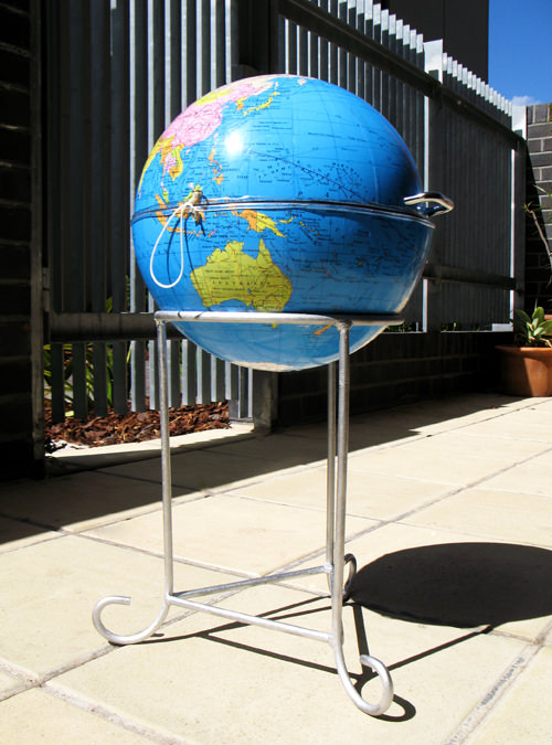 The World BBQ in social metals  with World globe Garden ideas BBQ
