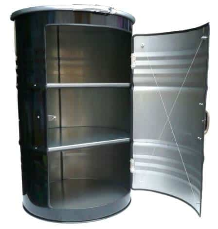 etagere bidon noir2 Metal barrel cupboard in metals furniture  with cupboard Barrel