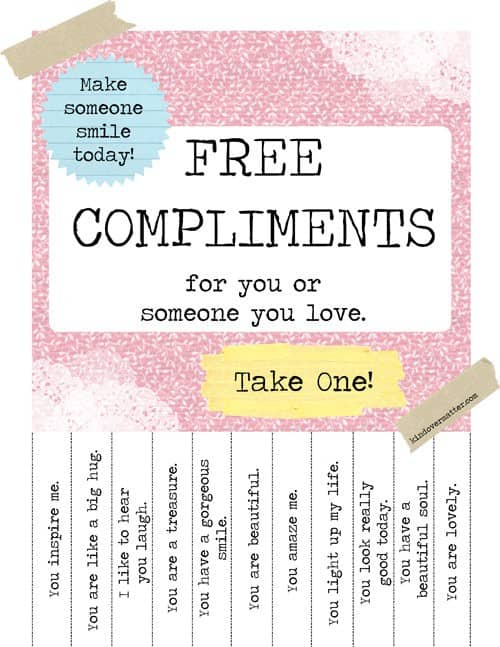 Printable free compliments Do-It-Yourself Ideas Interactive, Happening & Street Art