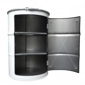 Metal barrel cupboard