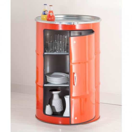 Metal barrel cupboard in furniture metals  with cupboard Barrel