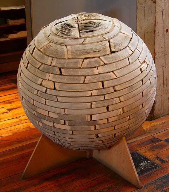 Books sphere in paper art  with Upcycled Book
