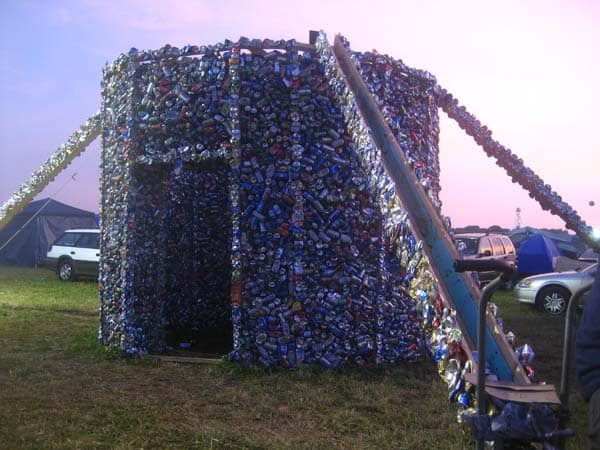 Up Cycling cans house in social packagings architecture  with House Cans Architecture