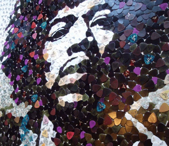 Hendrix Pick Art 2 Hendrix portrait with 5000 guitar picks in plastics art  with Portrait hendrix guitar pick guitar