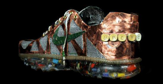 Nike Air Max sneakers made from old computers part in electronics art  with shoes Sculpture Computer Art