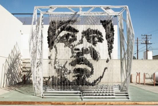 Muhammad Ali Portrait Made of 1300 Punching Bags Recycled Art