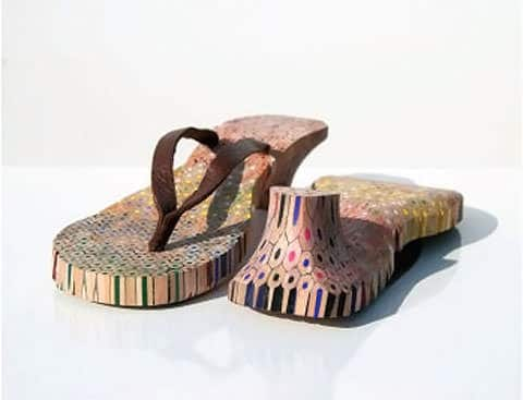 colored pencil shoes2 Pencil shoes in wood  with shoes shoe Pencil 