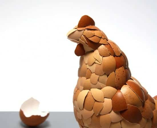 Eggshell Sculpture: What Came First ? Recycled Art