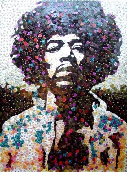 Hendrix portrait with 5000 guitar picks