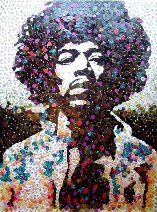 Hendrix portrait with 5000 guitar picks in plastics art  with Portrait hendrix guitar pick guitar