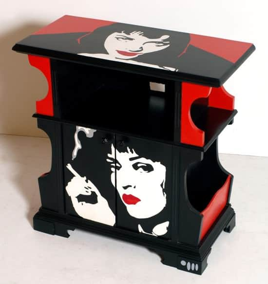 Pulp Fiction vintage cabinet  in wood furniture  with pop art cabinet