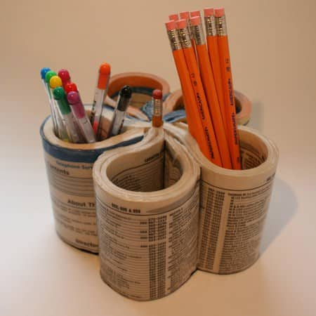 Diy : Phone Book Pen Organizer Accessories Do-It-Yourself Ideas Recycling Paper & Books