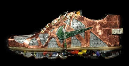 Nike Air Max Sneakers Made from Old Computers Part Recycled Art Recycled Electronic Waste