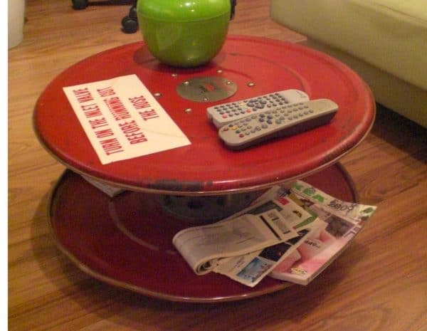 Repurposed Fire Hose Reel Coffee Table Do-It-Yourself Ideas Recycled Furniture Recycling Metal