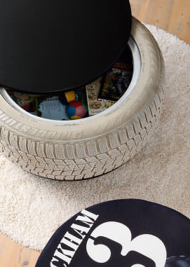 juguetero reciclado 1 DIY: tire toys box
