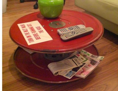 Repurposed Fire Hose Reel Coffee Table