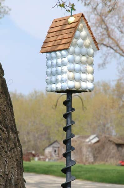 Golfers birdhouse in wood accessories  with golf Bird House Ball
