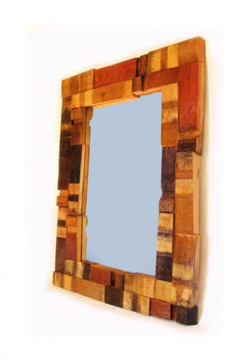 Mirrage, Wall Mirror made with recycled oak wine barrel in wood furniture  with Wood Wine upcycled furniture Recycled patchwork oak Mirror home decor Handmade